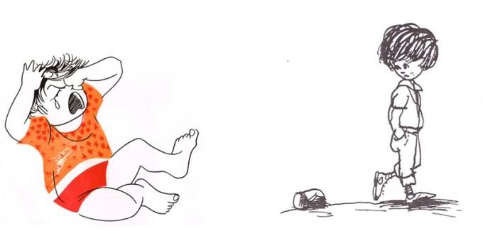"""מימין: דני קרמן, מתוך """"והילד הזה הוא אני"""", מאת יהודה אטלס, הוצאת כתר, 1977. משמאל: נורית יובל, מתוך """"מגדל של קוביות בניתי"""", מאת דבורה עומר, הוצאת י. שרברק, 1976"""