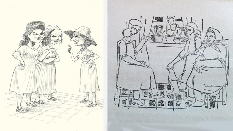 שני איורים לאותה הסצינה בה מגיעות השכנות להתלונן בפני המספרת על כך שהיא מקלקלת את הילדים (שימו לב להבדל בעובי הזרועות)