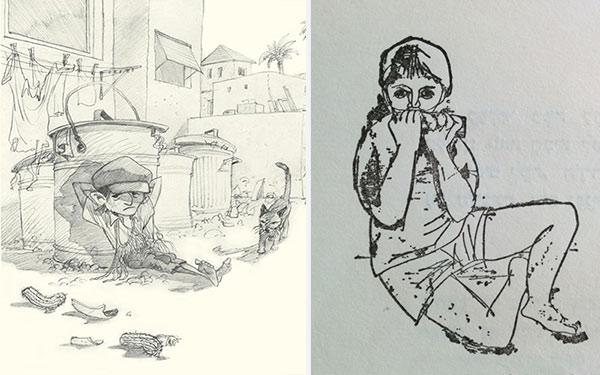 שני איורים לאותה סצנה, בה ניסים מתגלה מאחורי הפחים (יחזקאל קמחי ומישל קישקה)