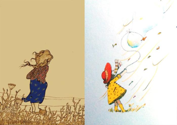 """מימין: איור של רעיה קרס מתוך """"בועה על חוט"""". משמאל איור של אורה איתן מתוך הספר """"בואו עננים"""" מאת לאה גולדברג"""