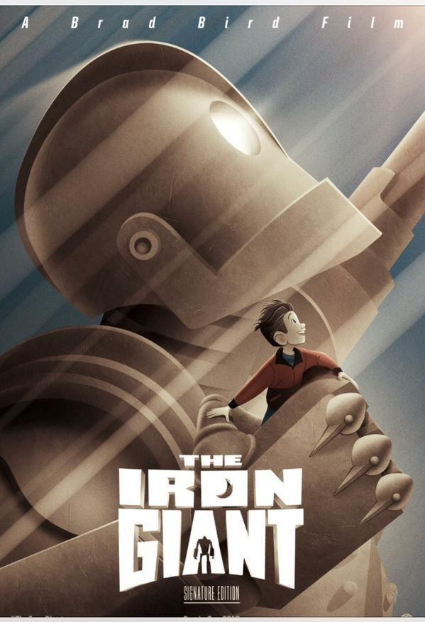 """הכרזה החדשה לסרט """"ענק הברזל"""" (1999) של בראד בירד שחוזר לקולנוע"""