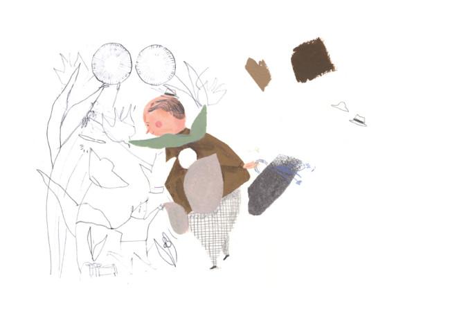 סקיצה בצבעי גואש וצבעי עיפרון