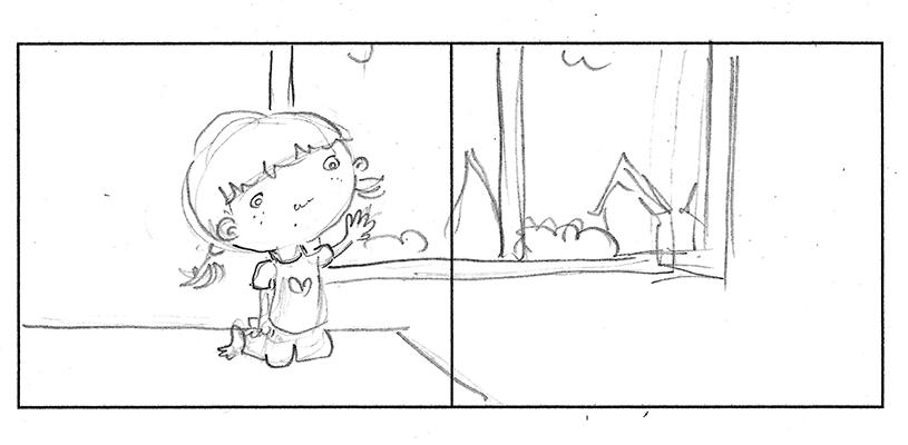 סקיצה מוקדמת לכפולה עם אחת הדמויות הראשונות, חלק מסטוריבורד ראשוני