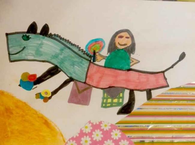 """איור ששלחה אלי ילדה, עפרי קהאן בת שש, שציירה בעקבות הספר """"בדיוק כמו שרציתי"""""""