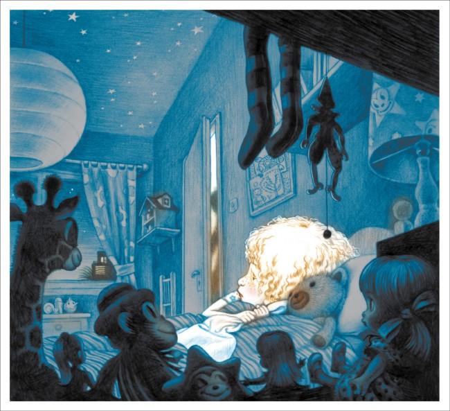 """מתוך """"לילה בלי ירח"""". איור: דוד פולונסקי. ספר מפחיד מדי?"""