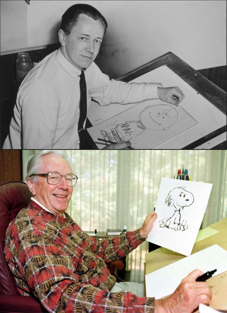 למעלה: שולץ בתמונה משנת 1956. למטה: שולץ בתחילת שנות התשעים