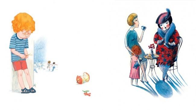 מימין: איור של לנה גוברמן, משמאל: איור של דוד פולונסקי