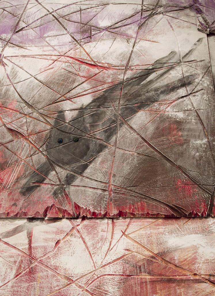 גיא ניסנהויז דאון טאון, 2015 (פרט) אקריליק וג׳ולות על מזוניט באדיבות האמן