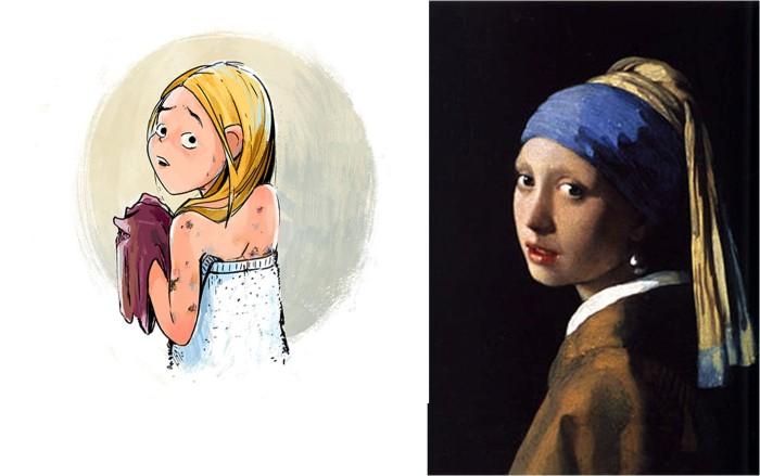 מימין: ההשראה - ורמיר, משמאל: מתוך הספר - כרמל בן עמי