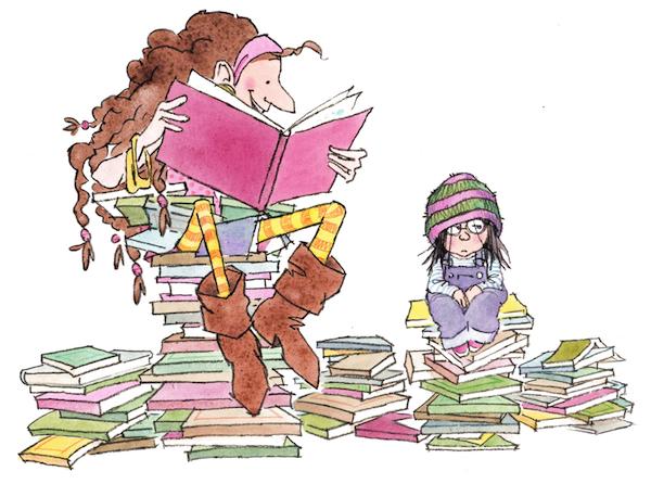"""איור: מייקל אמברלי מתוך """"גברת גרים אוהבת ספרים! (ואני לא)"""""""