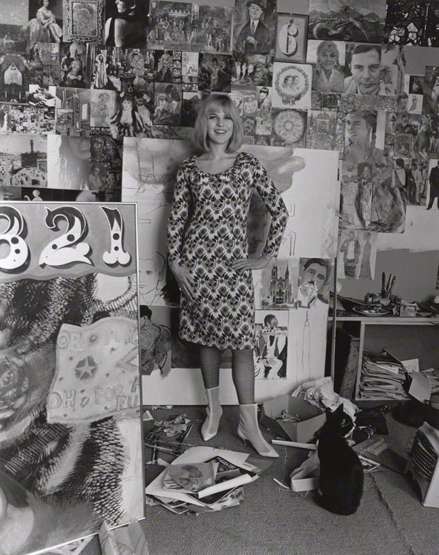 Pauline Boty: In her studio. Pic by Lewis Morley print, September 1963