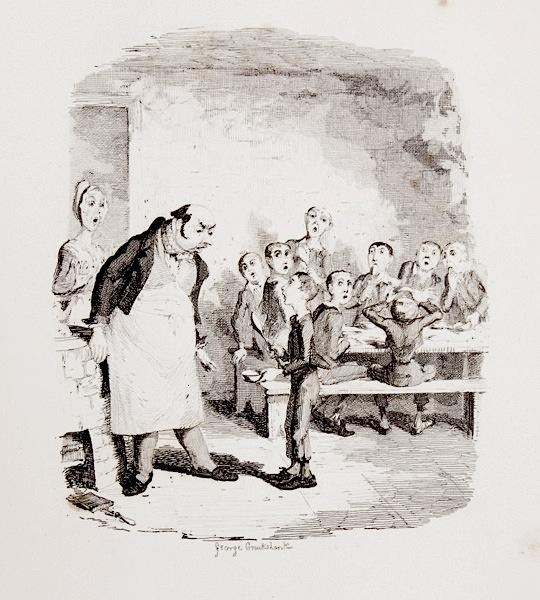 """""""אוליבר טוויסט"""", איור של ג׳ורג׳ קרוקשנק, 1838"""